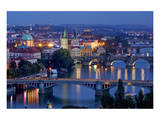View from Letna Hill across Vltava Bridges towards the Old Town of Prague, Czech Republic Print