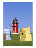 Lighthouse on the beach, Buesum, Schleswig-Holstein, Germany Prints