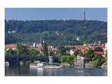 View across Vltava River towards Prague Lesser Town with Petrin Observation Tower, Czech Republic Art