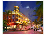Waldorf Towers Hotel on Ocean Drive in the Art Deco District of South Miami Beach Print