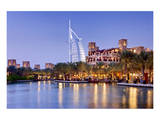 Souk Madinat Jumeirah with Burj Al Arab Hotel on Jumeirah Beach in Dubai Posters