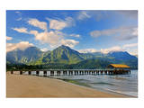 Pier on Hanalei Beach, Island of Kauai, Hawaii, USA Prints