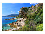Rocky Coast with View of Menton in France near Ventimiglia, Province of Imperia, Liguria, Italy Prints