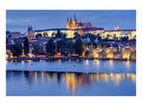 Charles Bridge across Vltava River with Hradcany Quarter and St. Vitus Cathedral in Prague Poster