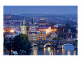 View from Letna Hill towards Charles Bridge in Prague, Central Bohemia, Czech Republic Prints