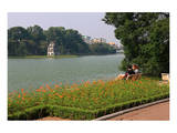 Park at Hoan Kiem Lake with a view towards the Turtle Tower, Hanoi, Vietnam Print