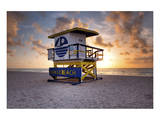 Lifeguard station on the Beach, Miami Beach, Florida, USA Print