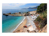 Bay with Beach near Ventimiglia, Province of Imperia, Liguria, Italy Prints