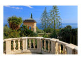 Pavilion with View of the Sea at Hanbury Botanic Gardens near Ventimiglia, Italy Art