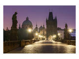 Charles Bridge and Old Town Bridge Tower in Prague, Central Bohemia, Czech Republic Art