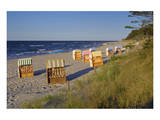Beach with Roofed Wicker Beach Chairs, Zempin, Usedom, Mecklenburg-Western Pomerania, Germany Prints