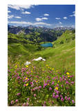 Lake Seealpsee at Nebelhorn Mountain (2224m), Oberstdorf, Allgaeu, Swabia, Bavaria, Germany Prints