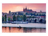 Charles Bridge across Vltava River with Hradcany Quarter and St. Vitus Cathedral in Prague Art