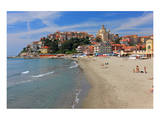 Beach with View of the Urban District of Porto Maurizio in Imperia, Liguria, Italy Poster