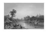 The River Barrada, the Ancient Pharpar, a River of Damascus Giclee Print by William Henry Bartlett