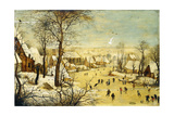 A Village in Winter with a Birdtrap and Skaters on a Frozen Waterway Giclée-Druck von Pieter Brueghel the Younger