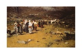 Procession of Fontainemore, 1882 Giclee Print by Lorenzo Delleani