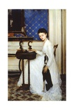 Young Woman at Desk with Greyhound, 1874 Giclee Print by Niccolo Cannicci