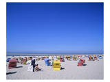 Beach chairs on Nordstrand, Langeoog, East Frisian Islands, Lower Saxony, Germany Prints