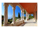 Terrace of Villa Hanbury at Hanbury Botanic Gardens near Ventimiglia, Province of Imperia, Italy Print