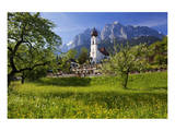 Zugspitze Village Grainau with Catholic Parish Church and Zugspitze Mountains, Germany Plakat