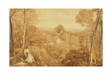Wooded Landscape with Cottages and Countrywomen, Hurley, Berks, 1818 Giclee Print by Joshua Cristall