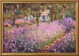 De tuin van Monet, Irissen Print van Claude Monet