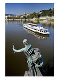 View from Cechuv Most Bridge across Vltava River towards Prague Lesser Town Posters