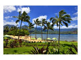 St. Regis Princeville Resort Hotel with View of the Bay at Hanalei Beach, Island of Kauai Prints