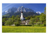 Zugspitze Village Grainau with Catholic Parish Church and Zugspitze Mountains, Germany Plakater