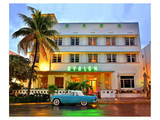 Ford Thunderbird Classic Car in front of the Avalon Hotel, Ocean Drive Prints