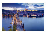 View from Old Town Bridge Tower across Charles Bridge towards Prague Lesser Town Poster