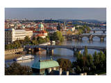 View from Letna Hill across Vltava Bridges towards the Old Town of Prague, Czech Republic Posters