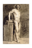 Male Academy Figure, Probably Polonais, Standing, 1821 Giclee Print by Ferdinand Victor Eugene Delacroix