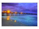 Pier on Dania Beach at Night, Florida, USA Prints