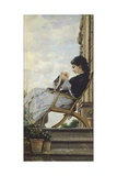 Woman Sewing on the Terrace, 1882 Reproduction procédé giclée par Cristiano Banti