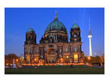 Berlin Cathedral at the Pleasure Garden, Lustgarten, with Television Tower, Berlin, Germany Poster