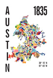 Austin Map Print Giclee Print by  J Hill Design