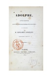 Title Page of 1824 Edition of Adolphe, Novel Giclee Print by Benjamin Constant
