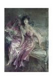 Woman in Rose. Portrait of Olivia De Subercaseaux Concha Giclee Print by Giovanni Boldini