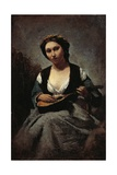 Woman with Mandolin Giclee Print by Jean-Baptiste-Camille Corot