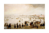 The Broederpoort, Kampen, with Numerous Figures Skating and Playing Kolf Giclee Print by Hendrik Avercamp