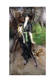 Portrait of a Lady, Lina Bilitis, with Two Pekineses, 1913 Giclee Print by Giovanni Boldini