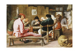 Boors Smoking and Drinking at a Table in a Tavern, C.1625 Giclee Print by Adriaen Brouwer
