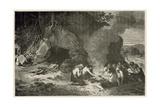 Un Repas Funeraire a L'Epoque Du Grand Ours Et Du Mammouth Giclee Print by Emile Antoine Bayard