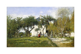 Fervaques, Garden and House of Monsieur Jacquette, 1877 Giclee Print by Eugene Louis Boudin