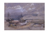 Coastal Landscape with Beached Fishing Boats, 1820 Giclee Print by Thomas Churchyard