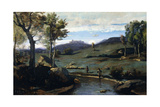 Roman Countryside - Rocky Valley with a Herd of Pigs, 1843 Giclee Print by Jean-Baptiste-Camille Corot