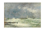 Entrance to the Harbour at Le Havre in Stormy Weather, 1895 Giclee Print by Eugene Louis Boudin