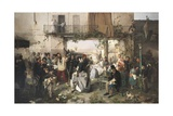 News of the Peace of Villafranca, 1862 Giclee Print by Domenico Induno